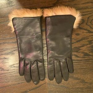 NEIMAN MARCUS| leather & real fur gloves